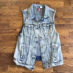H&M acid wash studded denim vest
